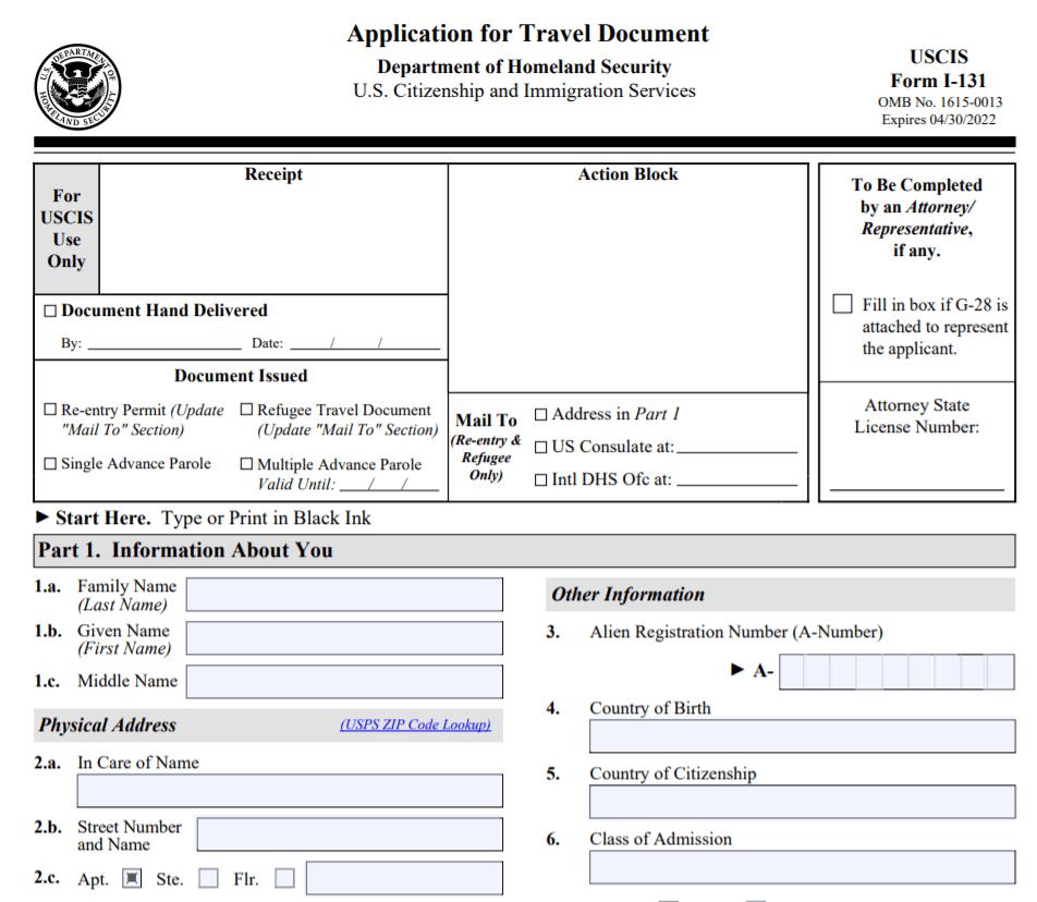 Form I-131 Application for Travel Document