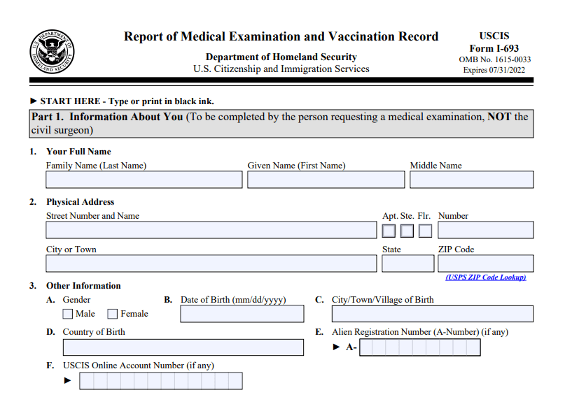 Form I-693: Report of Medical Examination and Vaccination Record