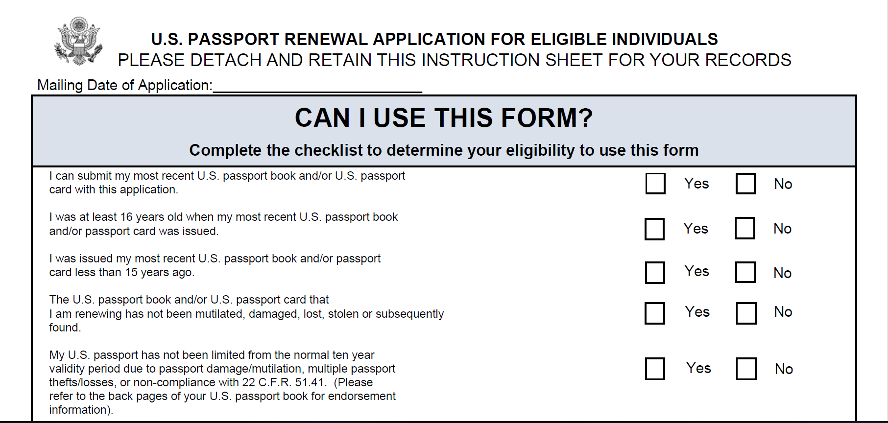 Form DS-82: U.S. Passport Renewal Application for Eligible Individuals