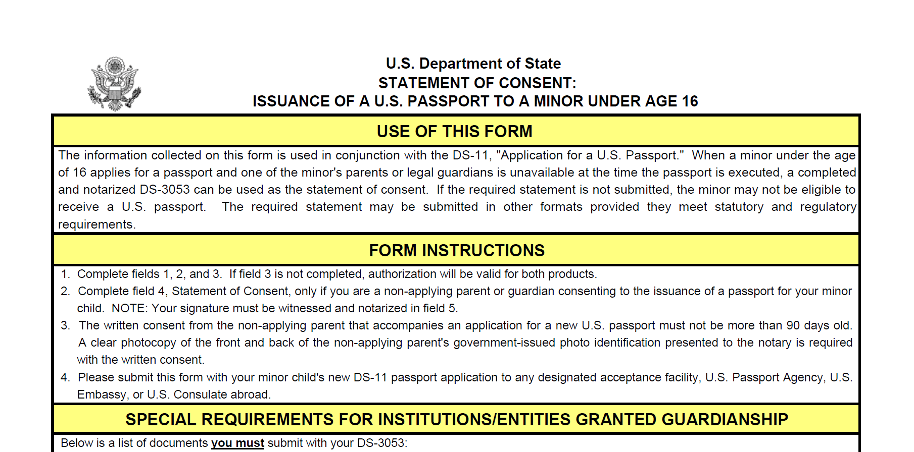 Form DS-3053: Statement of Consent: Issuance of a U.S. Passport to a Minor Under Age 16