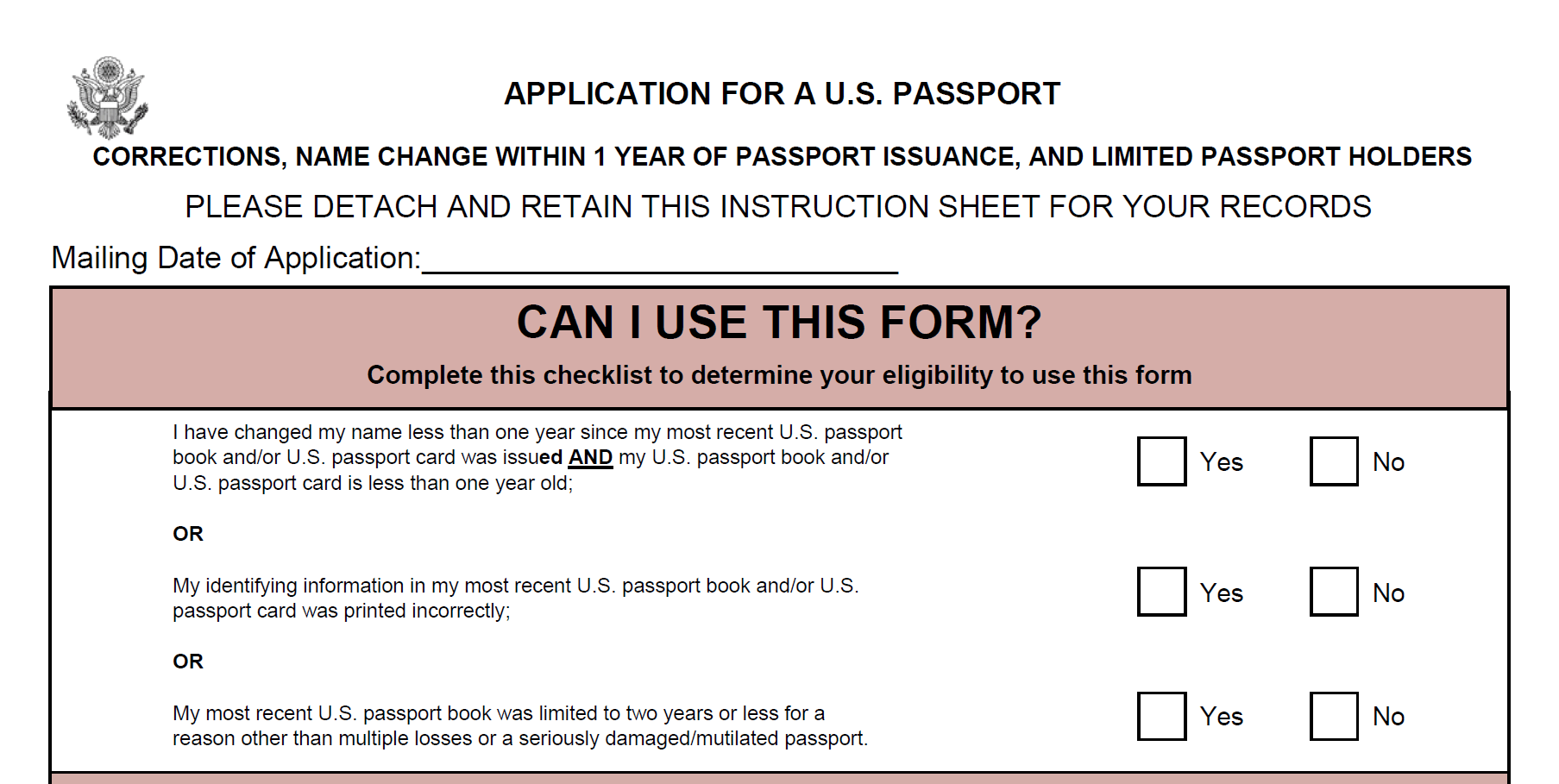 Form DS-5504: Application for a U.S. Passport