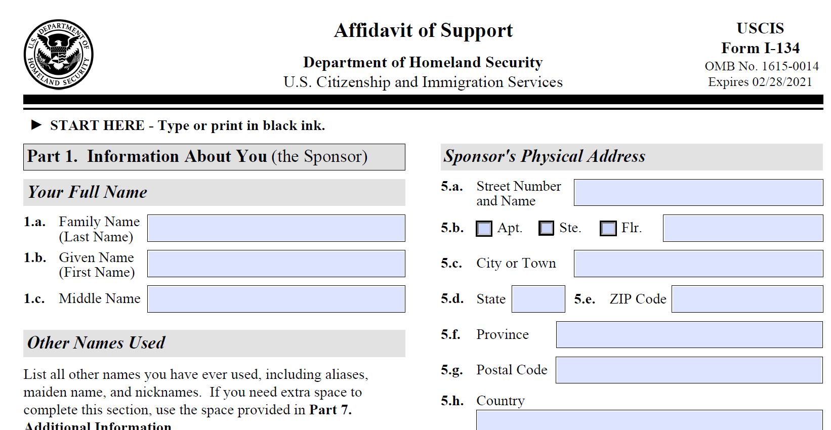 Form I-134 Affidavit of Support