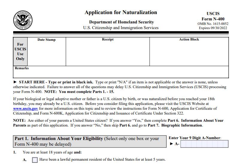 Form N-400: Application for Naturalization