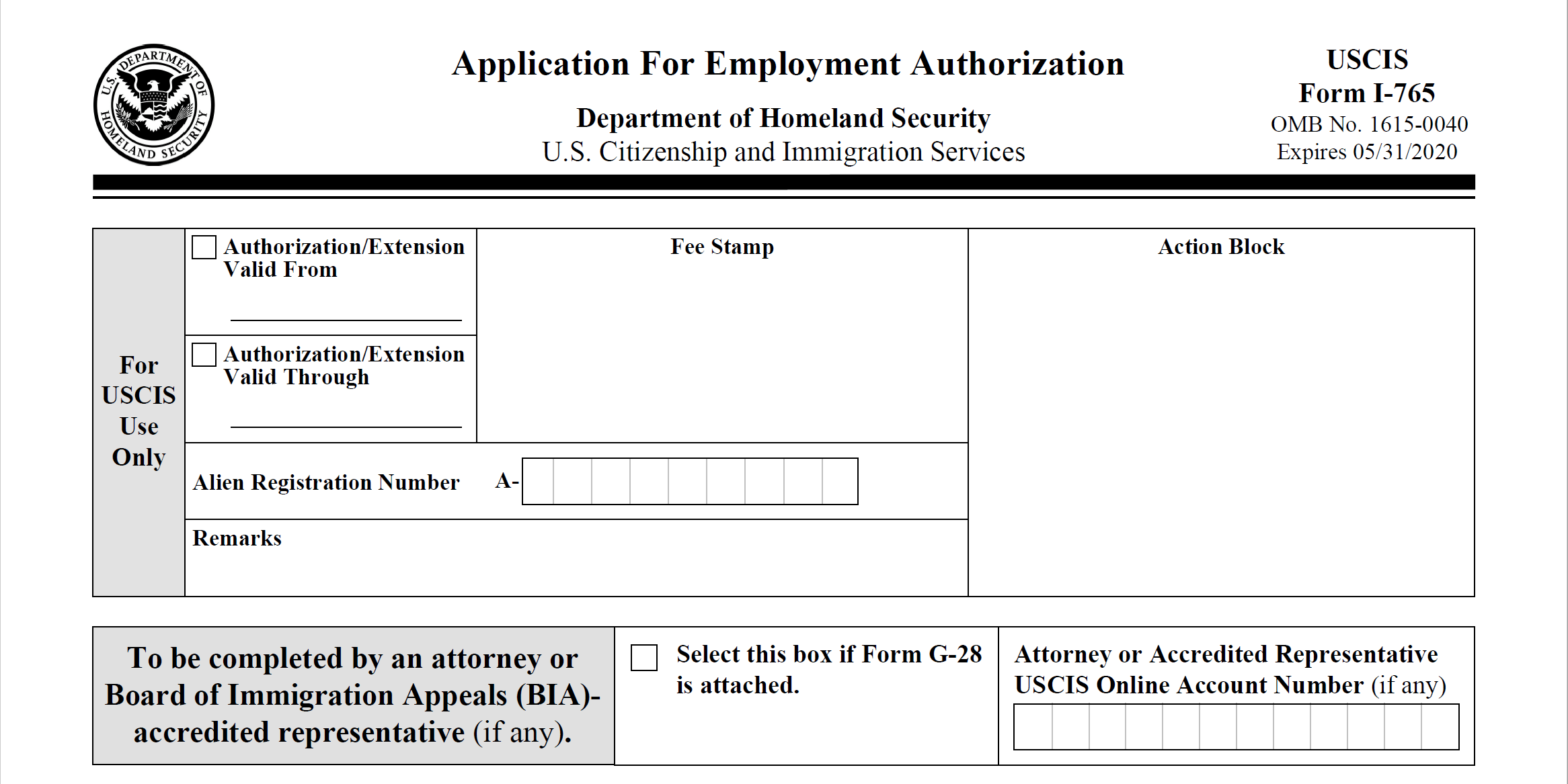 Form I-765: Application for Employment Authorization