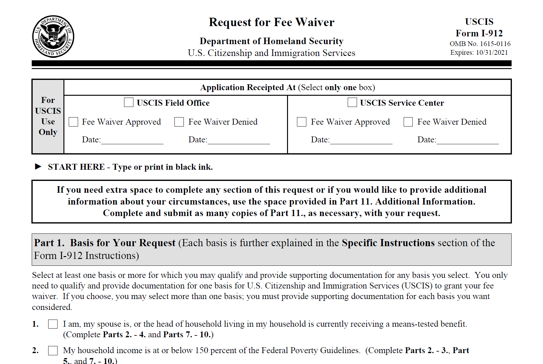 Form I-912: Request for Fee Waiver