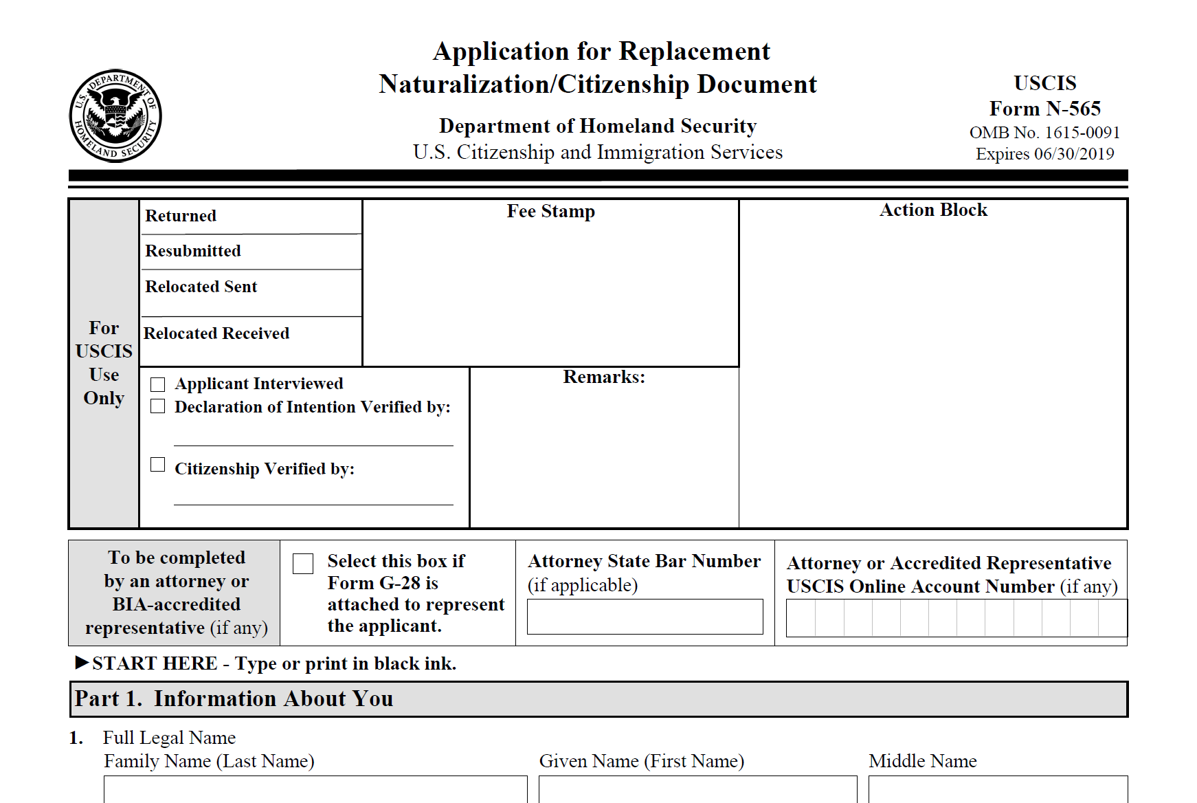 Form N-565: Application for Replacement Naturalization or Citizenship Document